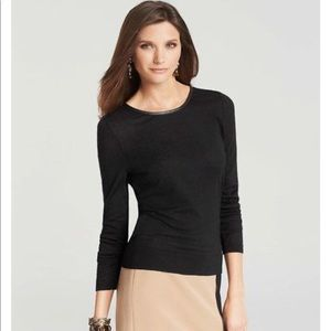 ANN TAYLOR Faux Leather Trim Merino Sweater